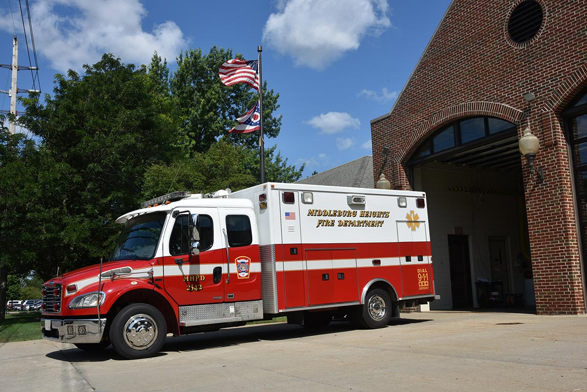 Fire station EMS vehicle