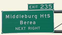 Middleburg Heights highway exit sign