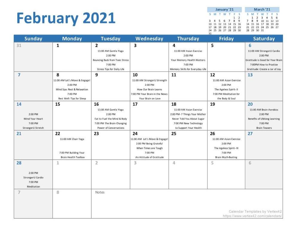 February 2021 VBHC Calendar